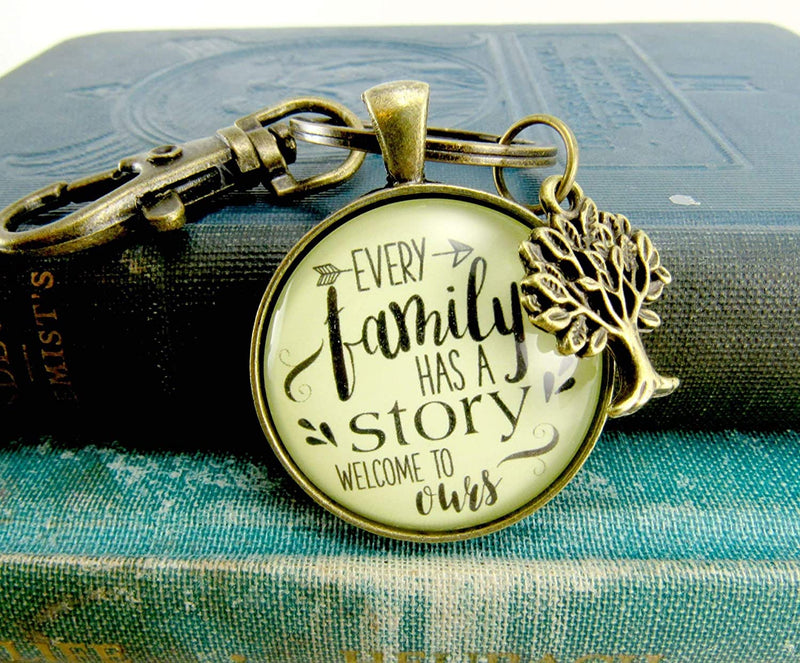 Every Family Has A Story Welcome Keychain Gift For Son In Law Step Bonus Child Adoption Vintage Inspired Key Ring
