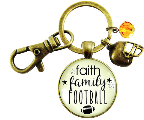 Faith Family Football Keychain Hipster Style Bronze Football Bling Pendant Sports Jewelry For Mom Helmet Cross Charm