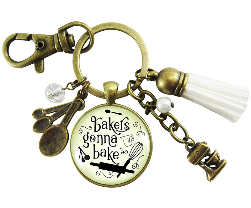 Baking Keychain Bakers Gonna Bake Jewelry For Women Gift Retro Inspired Culinary Pendant Mixing Bowl Charm