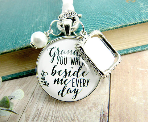 Bridal Bouquet Charm Grandpa Picture Frame Wedding Memorial Remembrance Pendant Silver Finish Jewelry