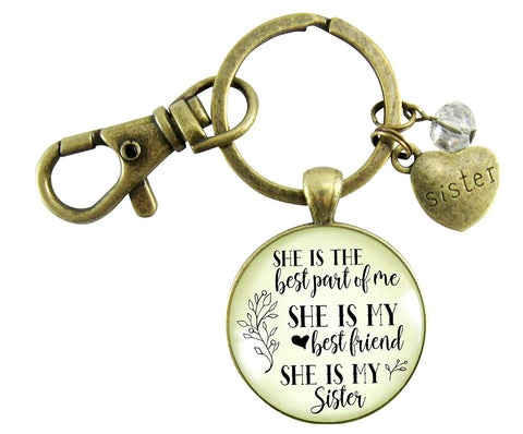 Love My Sister Keychain She Is The Best Part of Me Gift Sisterhood Friendship Women Jewelry Heart Charm