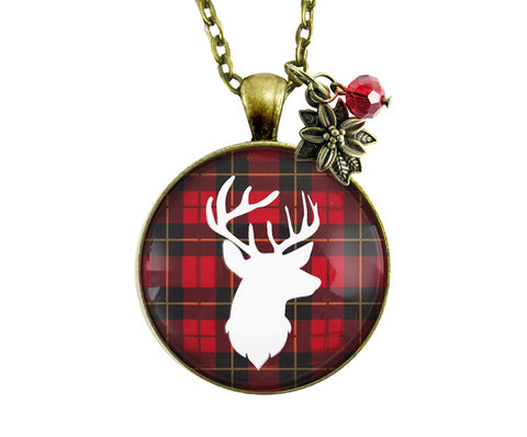 "24"" Deer Necklace Antlers Hunter Red Plaid Christmas Vintage Inspired Pendant Women's Jewelry Gift Bronze Holiday Charm"