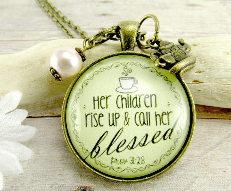 "Gutsy Goodness 36"" Blessed Mother Necklace Proverb 31 Christian Mom Jewelry Teapot Charm - Gutsy Goodness"