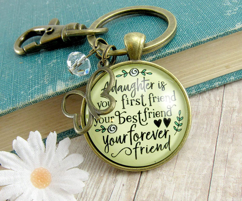 A Daughter Is Your First Best Forever Friend Keychain Matching Mom Mother Daughters Jewelry Gift Butterfly Charm