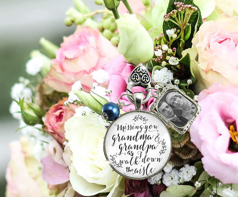 Bouquet Charm Bridal Memorial Grandma And Grandpa Missing You On Wedding Day Loving Memory Vintage White Silver Blue Bead Custom Picture Frame