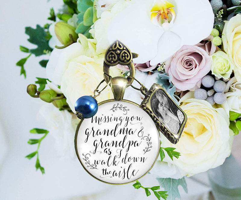 Bouquet Charm Bridal Memorial Grandma And Grandpa Missing You On Wedding Day Loving Memory Vintage White Bronze Custom Picture Frame