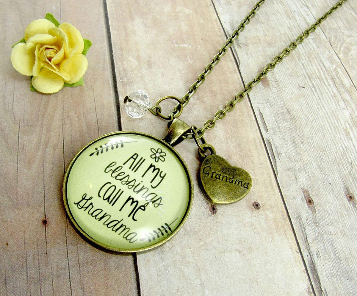 "Gutsy Goodness 24"" Grandma Necklace All My Blessings Grandmother Gift Jewelry"