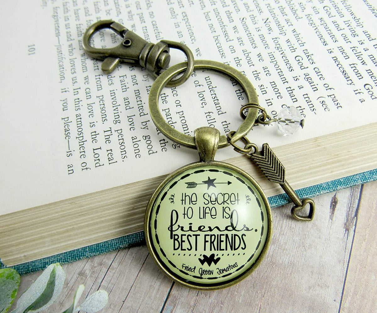 Friendship Keychain The Secret to Life Is Best Friends Thoughtful Quote Gift Jewelry For Women Arrow Heart Charm