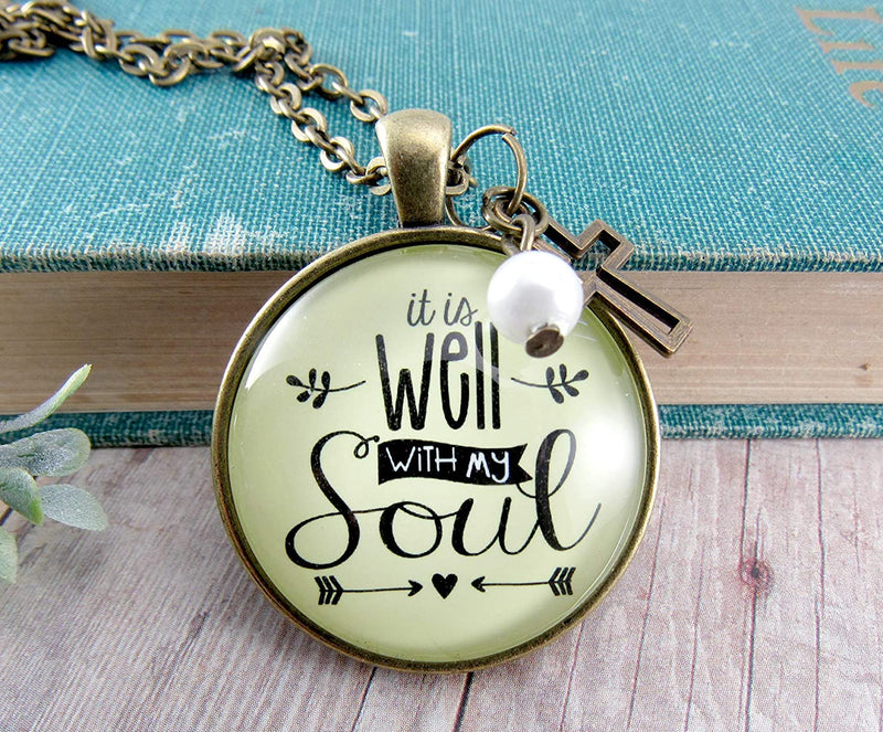 "Gutsy Goodness 36"" Inspirational Faith Necklace It is Well with My Soul Hymn Jewelry"