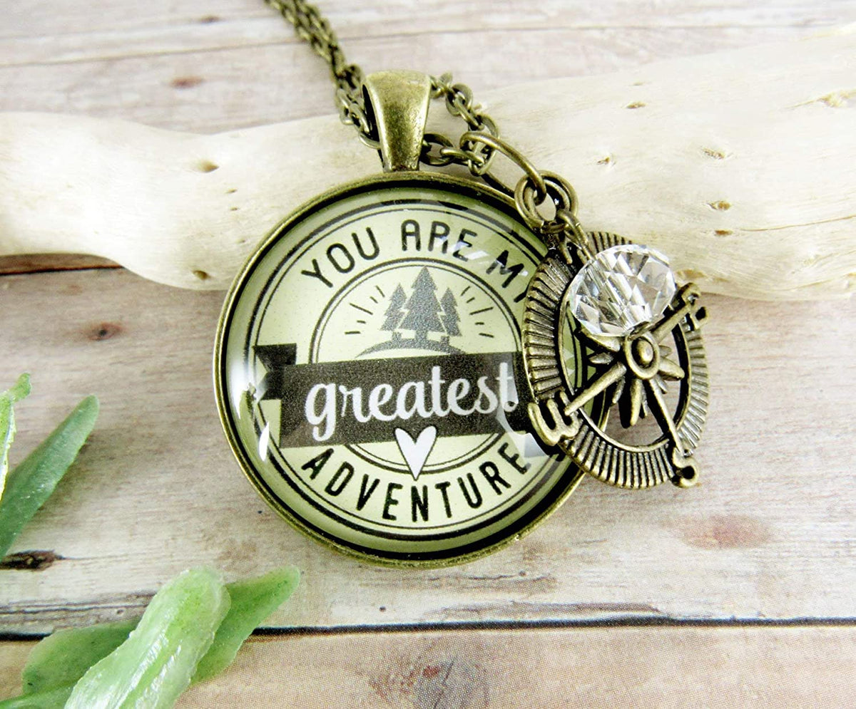 "Gutsy Goodness 24"" You are My Greatest Adventure Compass Necklace Romantic Couple Gift"
