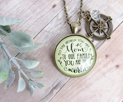 "Gutsy Goodness 36"" Best Mom Necklace To the World You are Family Loves Gift Jewelry"