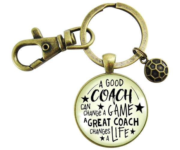 Soccer Coaching Keychain A Great Coach Changes A Life Quote Thank You Key Ring Appreciation Gifts For Men Women
