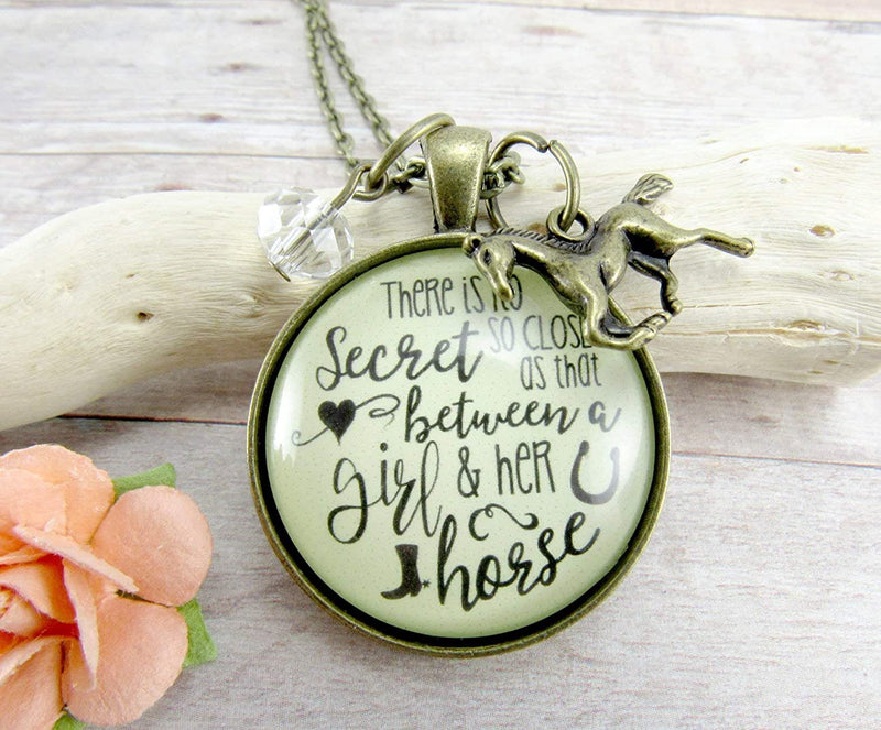 "Gutsy Goodness 36"" Horse Necklace Equestrian Country Theme Quote Jewelry Galloping Charm - Gutsy Goodness"