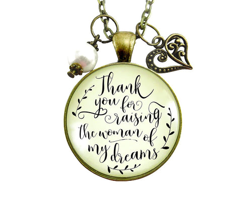 "36"" Thank You For Raising the Woman Of My Dreams Mother Of The Bride Necklace Wedding Day Gift Vintage Style Jewelry"