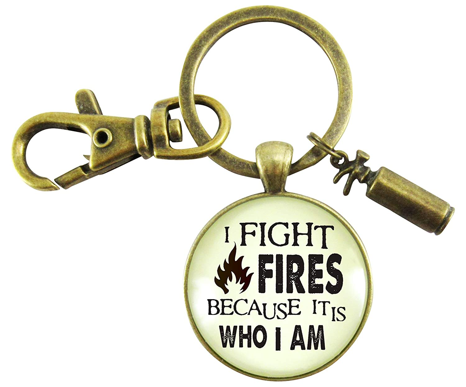 Firefighter Keychain I Fight Fires Because It Is Who I Am Appreciation Gift Jewelry Novelty Extinguisher Charm