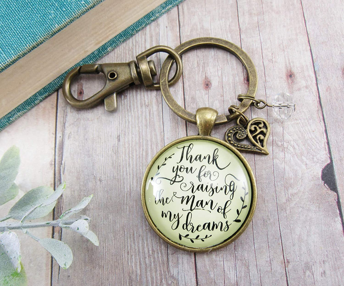 Gutsy Goodness To Her Mother in Law Keychain Thank You Raising Man I Dreamed Wedding Gift