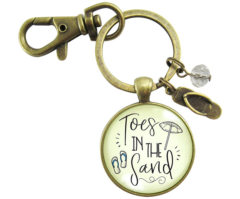 Toes in the San Beach Keychain Vintage Ocean Bronze Nautical Ocean Style Flip Flop Charm Key chain
