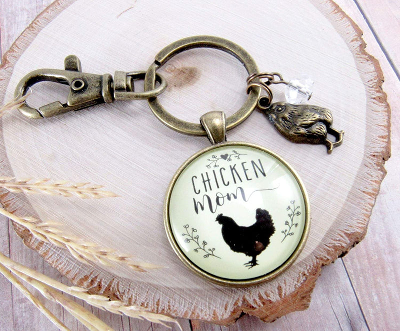 Chicken Mom Keychain Chick Gift For Mother Vintage Novelty Farm Life Chic Inspired Womens Pendant Baby Charm - Gutsy Goodness