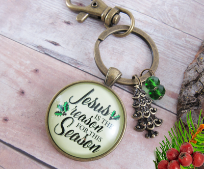 Christmas Keychain Jesus is Reason for the Season Holiday Inspired Gift Jewelry - Gutsy Goodness
