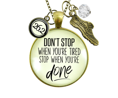 Gutsy Goodness 26.2 Marathon Necklace Don't Stop When You're Tired Motivational Run Sport Charm - Gutsy Goodness