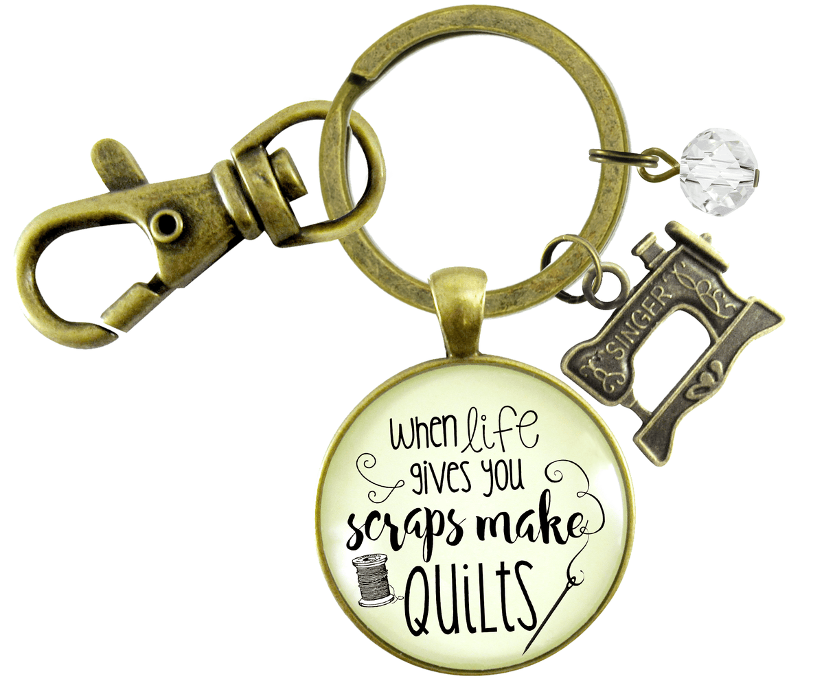 Quilting Keychain When Life Gives Scraps Make Quilts Pendant Sewing Machine Jewelry - Gutsy Goodness Handmade Jewelry