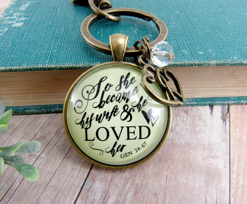 Love My Wife Keychain She Became His Wife He Loved Her Faith Inspired Jewelry Gift
