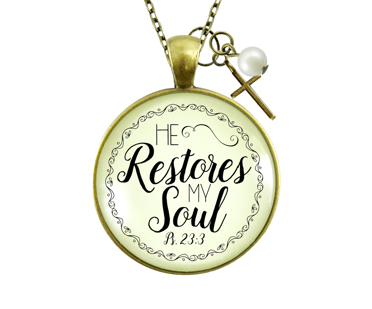 Gutsy Goodness He Restores My Soul Psalm 23 Necklace Bible Saying Cross Jewelry - Gutsy Goodness