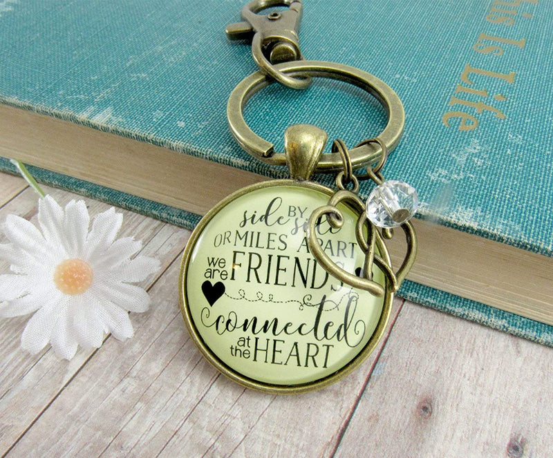 Best Friends Keychain Side By Side Miles Apart Long Distance Quote Friendship Gift Jewelry For Women Heart Charm
