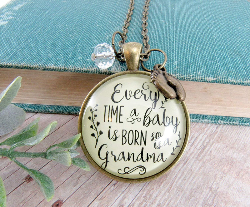 "Gutsy Goodness 36"" Pregnancy Announcement Grandma Necklace Every Time Reveal Baby Gift"