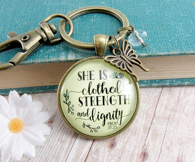 Gutsy Goodness Faith Inspired Keychain She Is Clothed In Strength Dignity Buterfly Pendant Charm - Gutsy Goodness
