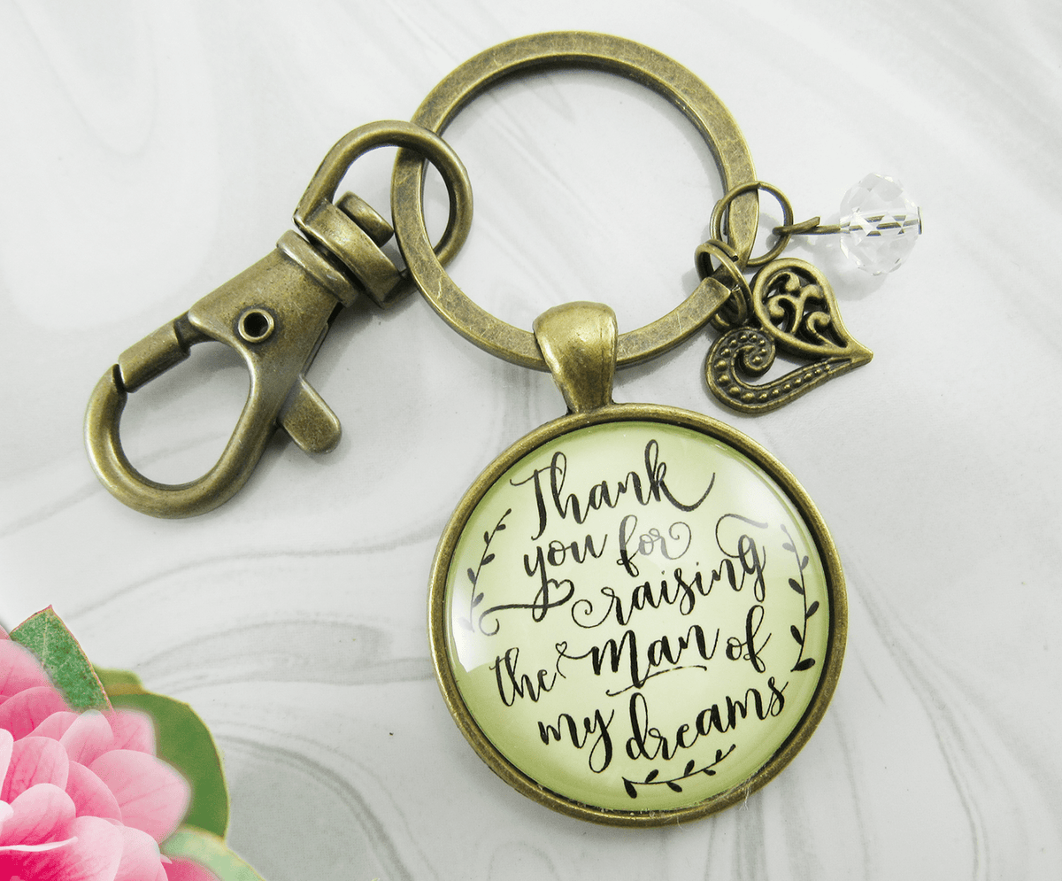 To Her Mother in Law Keychain Thank You Raising Man I Dreamed Wedding Gift - Gutsy Goodness Handmade Jewelry