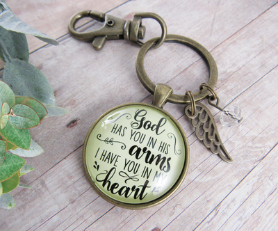 God Has You in His Arms Memorial Keychain Jewelry Angel Wing Charm - Gutsy Goodness