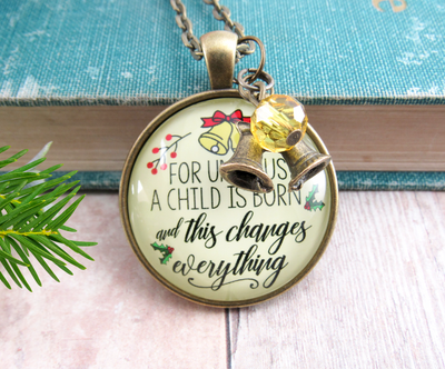 Gutsy Goodness Christmas Necklace Unto Us Child Born Faith Holiday Jewelry - Gutsy Goodness