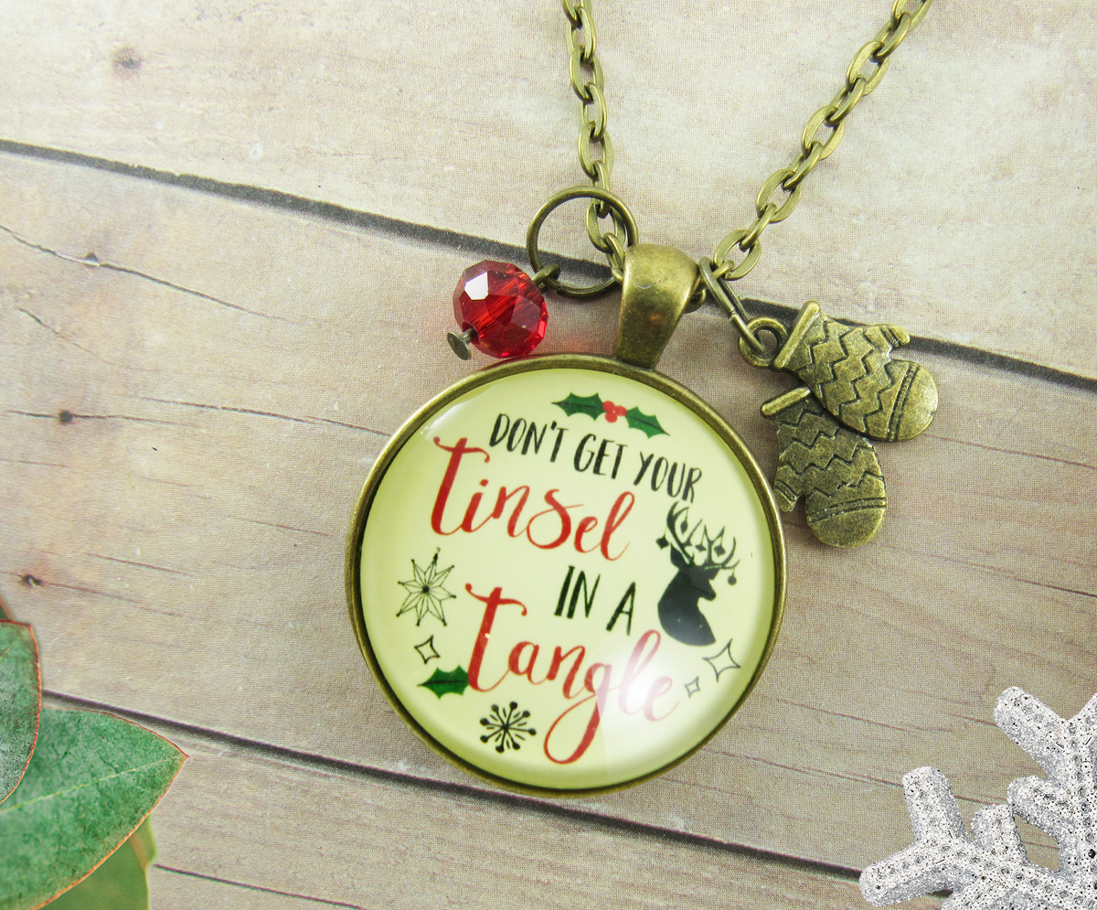 Christmas Don't Get Your Tinsel Tangle Necklace Holiday Stocking Gift - Gutsy Goodness Handmade Jewelry