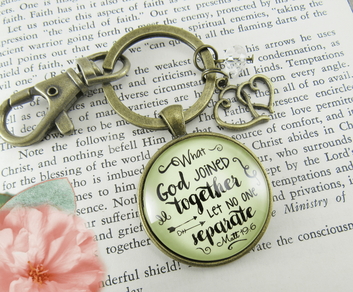Love My Wife Keychain What God Joined Womens Faith Gift Jewelry - Gutsy Goodness Handmade Jewelry