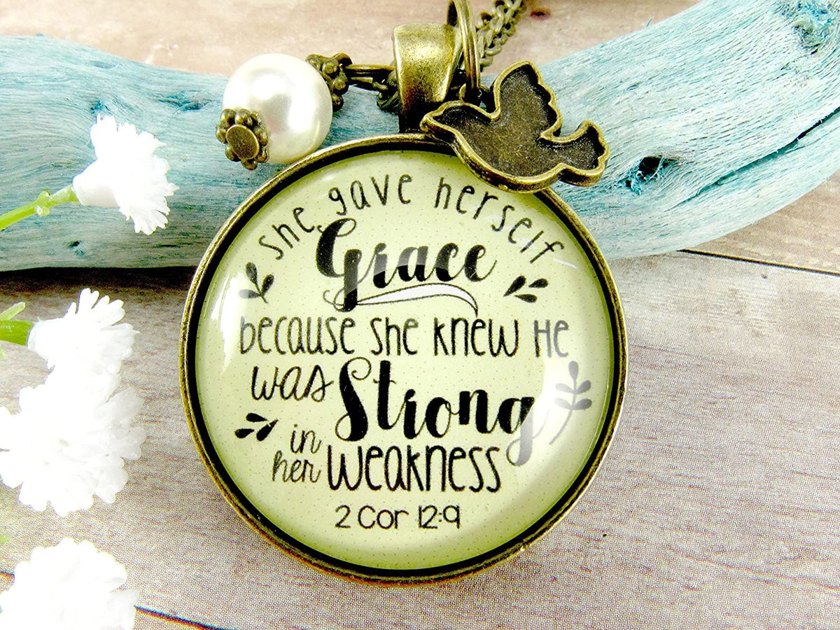"Gutsy Goodness 36"" She Gave Herself Grace Christian Necklace Bible Quote Dove Jewelry"