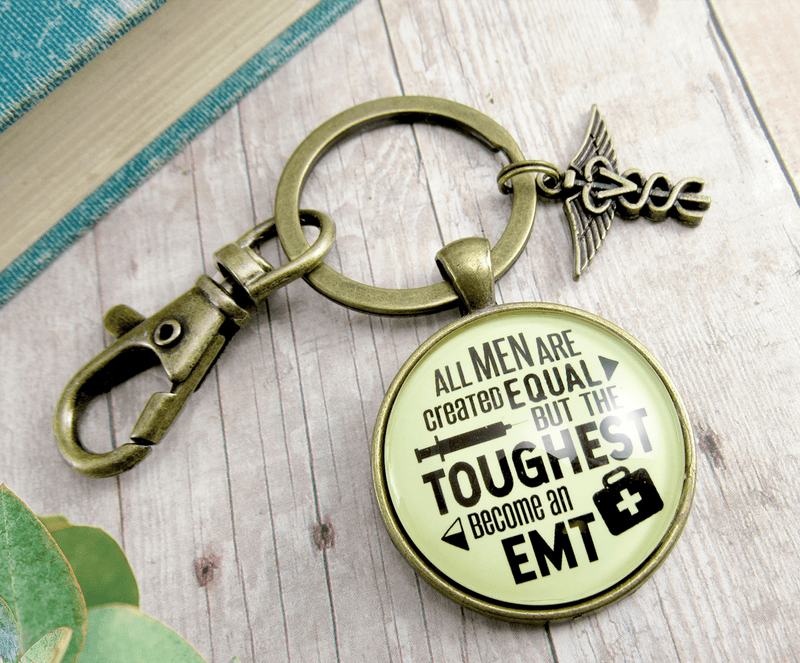 Mens EMT Keychain All Men Created Equal Toughest Become EMT Jewelry Gift Caduceus Charm - Gutsy Goodness
