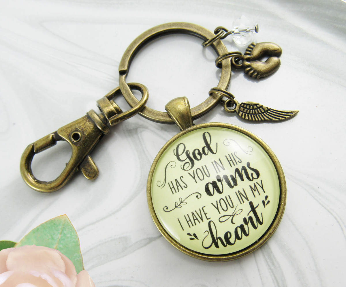 Baby Loss Memorial Keychain For Mom God Has You In Arms Heart Miscarriage Jewel Gift - Gutsy Goodness