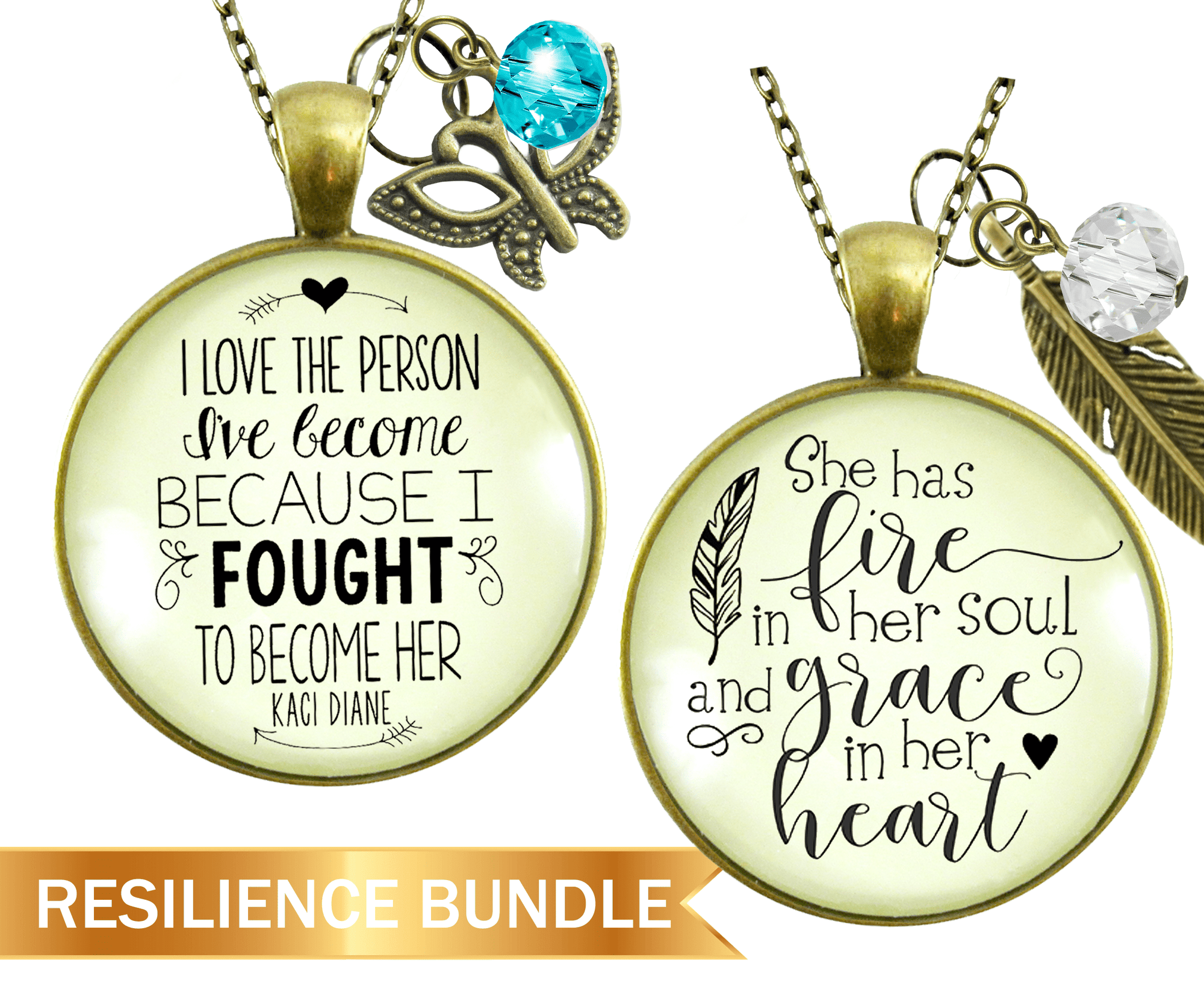 "Resilient Woman Necklace Bundle Set of 2 | I Love The Person | She Has Fire In Her Soul 24"" - Gutsy Goodness Handmade Jewelry"