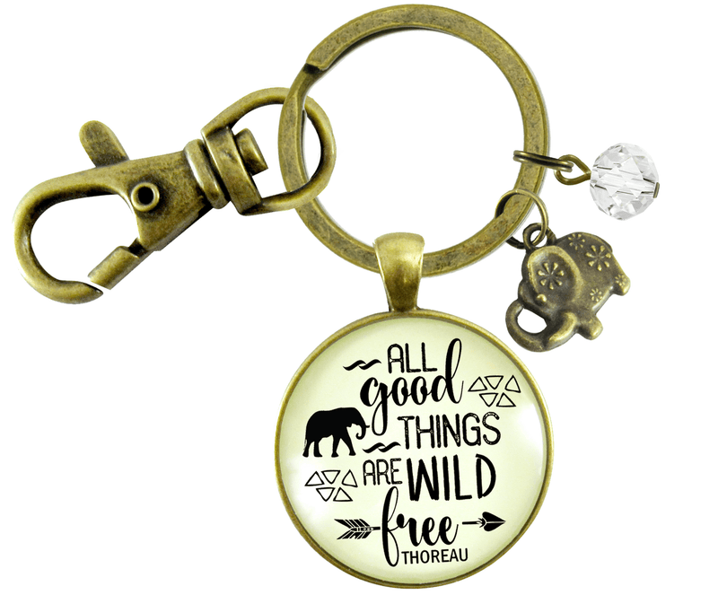 Wild And Free Keychain All Good Things Thoreau Quote Adventure Jewelry Women Elephant