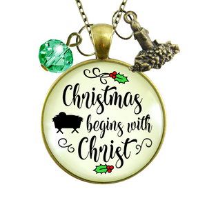 Gutsy Goodness Christmas Necklace Begins With Christ Faith Holiday Jewelry
