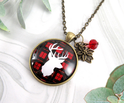 Gutsy Goodness Deer Necklace Antlers Hunter Red Plaid Christmas Jewelry Holiday Gift - Gutsy Goodness