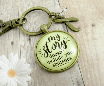 Survivor Keychain My Story Doesn't Include Statistics Funny Jewelry - Gutsy Goodness