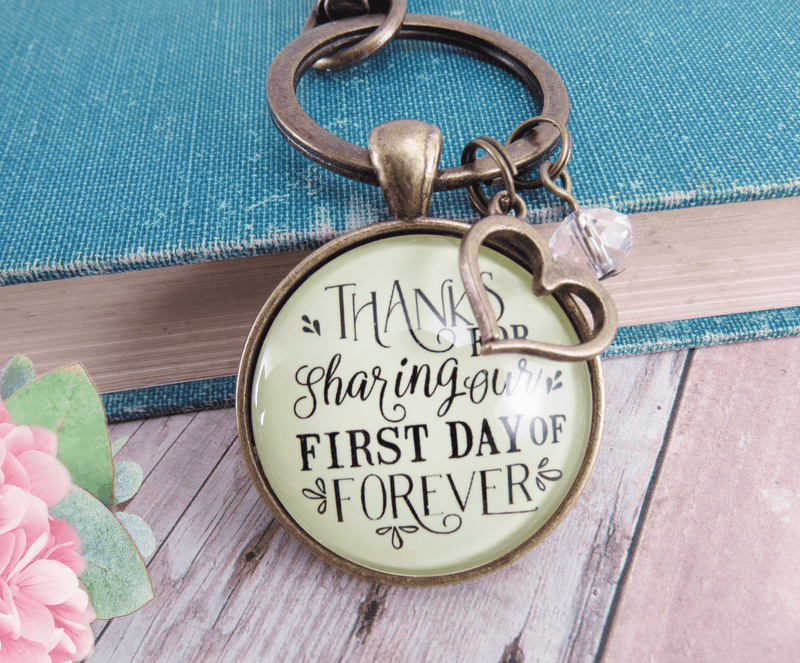 Wedding Officiant Gift Keychain Thanks For Sharing Our Day Rustic Heart Charm - Gutsy Goodness