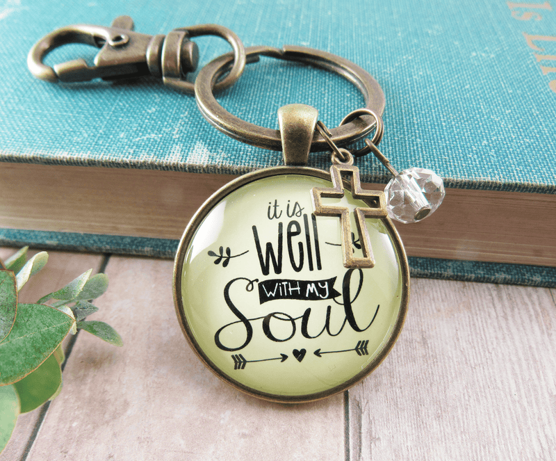 Inspirational Faith Keychain It is Well with My Soul Hymn Jewelry - Gutsy Goodness
