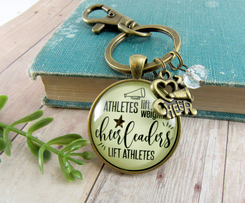 Cheer Keychain Athletes Lift Weights Funny Cheerleader Jewelry Megaphone Charm - Gutsy Goodness Handmade Jewelry
