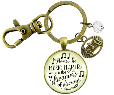 Musician Keychain We Are The Music Makers Musical Jewelry Retro Inspired Bronze Notes Charm - Gutsy Goodness Handmade Jewelry