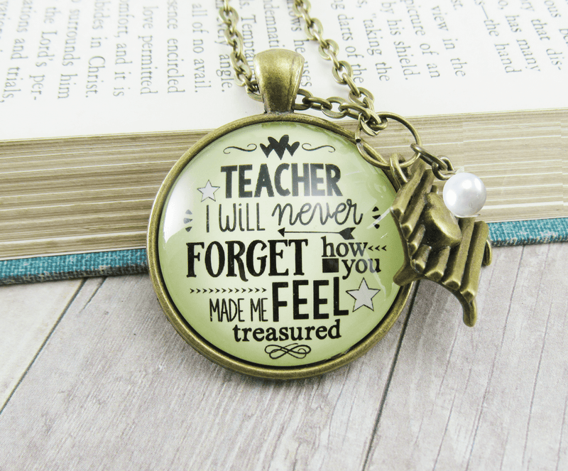 Gutsy Goodness Teacher Necklace I Will Never Forget Jewelry Appreciation Gift - Gutsy Goodness Handmade Jewelry