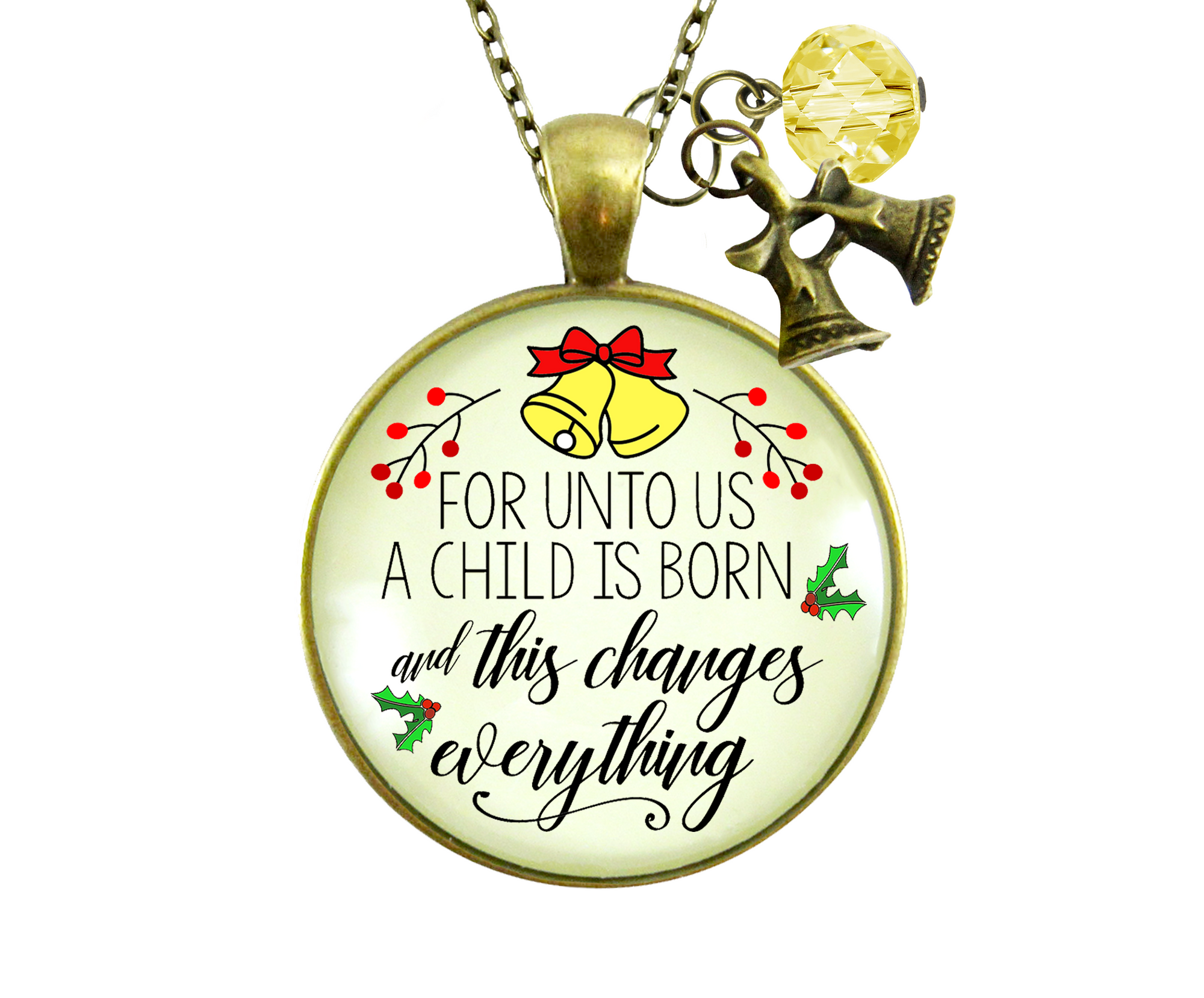 Gutsy Goodness Christmas Necklace Unto Us Child Born Faith Holiday Jewelry