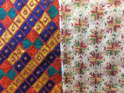 Real Authentic Handcrafted Phulkari juxtaposed against the Cheaper Manufactured Alternative!